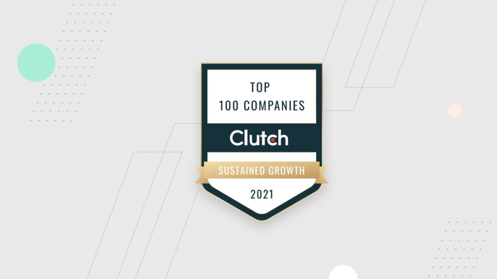 The badge represents Top 100 B2B Service Providers for Sustained-Growth by Clutch